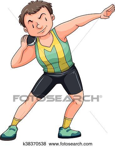 clip art of man athlete doing shotput k38370538 search clipart rh fotosearch com shot put clipart images girl shot put clipart