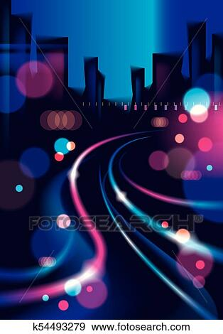 Night city with blurred lights bokeh texture vector illustration  Effect  vector beautiful background  Blur colorful dark background with cityscape,