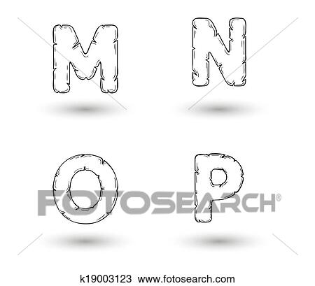 Clipart Of Sketch Jagged Alphabet Letters M N O P K19003123