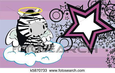 Zebra angelo cartone animato fondo clipart k5870733 fotosearch