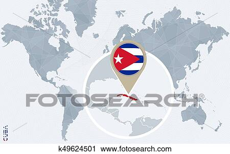 Abstract blue world map with magnified Cuba. Clipart ...