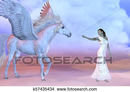 Drawings Of Athena Greek Goddess And Pegasus K57435434 Search Clip