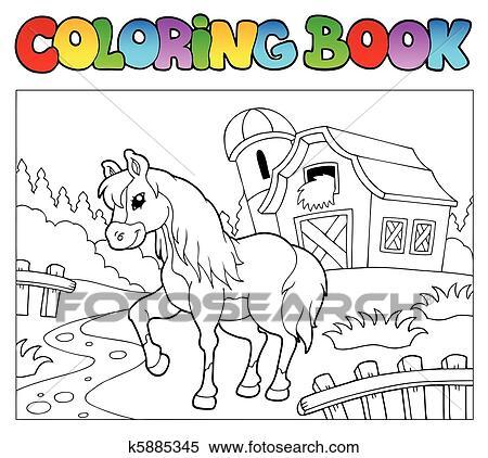 Clipart Ausmalbilder Mit Bauernhof Und Pferd K5885345 Suche