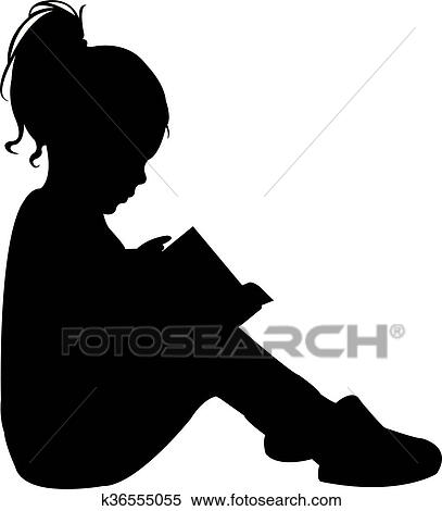 Child Reading The Book Silhouette Clipart K36555055 Fotosearch