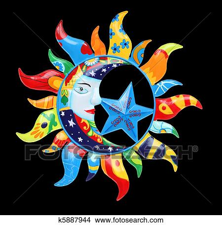 Dessins color soleil et lune k5887944 recherche de clip arts d 39 illustrations et d - Dessin de lune et soleil ...