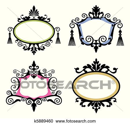 Clipart - conjunto, de, vendimia, marcos k5889460 - Buscar Clip Art ...