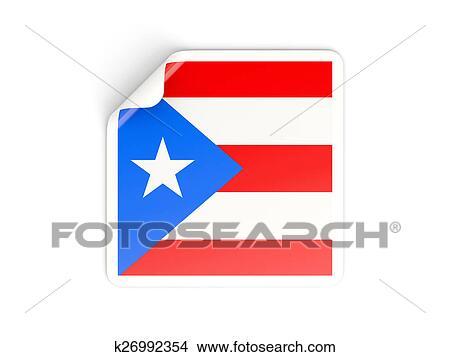 dibujos cuadrado pegatina con bandera de puerto rico