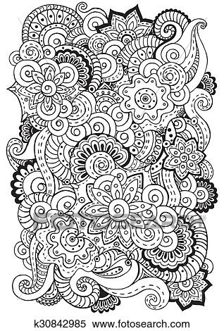 Clipart - garabato, plano de fondo, en, vector, con, doodles, flores ...