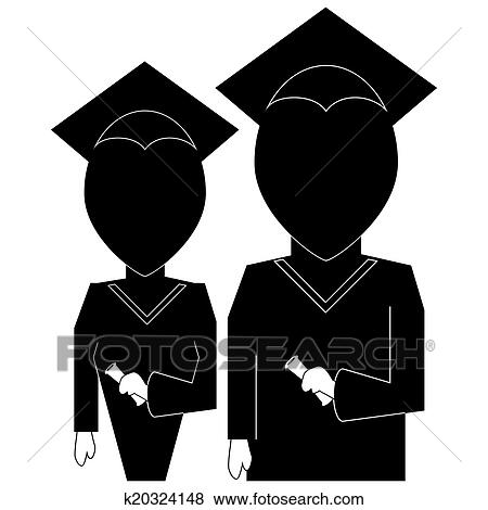 Graduation education icon in silhouette black on white ...