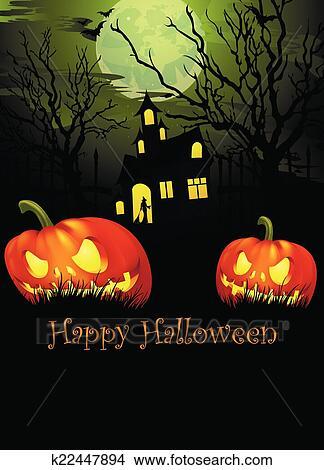 Halloween Chiesa.Halloween In Il Vecchia Chiesa Clipart