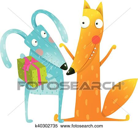 Clipart Of Happy Birthday Card Template With Bunny And Fox