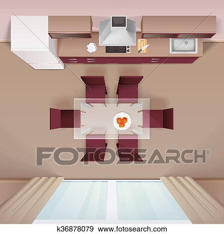 Clip Art Modern Kitchen Top View Realistic Image Fotosearch