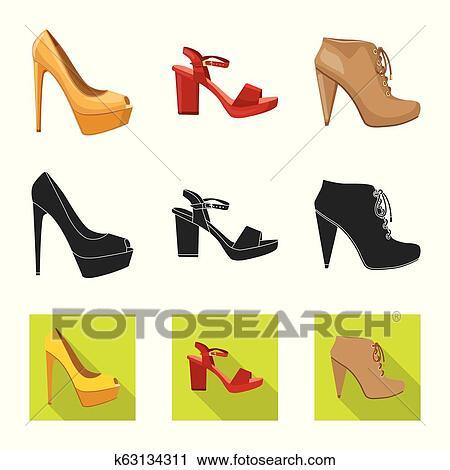 52da67fe Vector, ilustración, de, calzado, y, mujer, signo., colección, de, calzado,  y, pie, acción, símbolo, para, web.