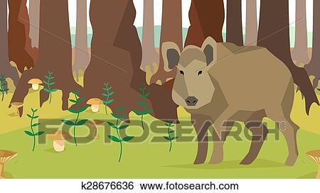 Clip art verro in foresta con albero fungo seamless animali