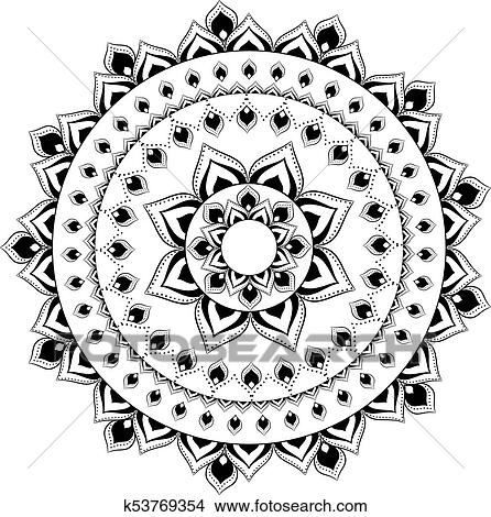 Vindima Decorativo Mandala Oriental Padrao Vetorial