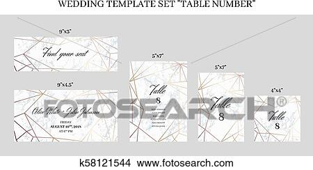 Wedding Template Set Table Number Cards Clipart K58121544