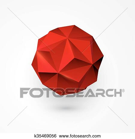 Abstract Vector polygon shape  low poly sphere  Clip Art