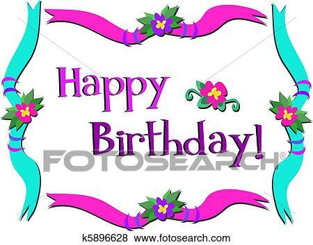 Clip Art Alles Gute Geburtstag Rahmen Mit Blumen K5896628