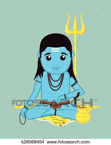 Baba balaknath cartone animato carattere clipart k