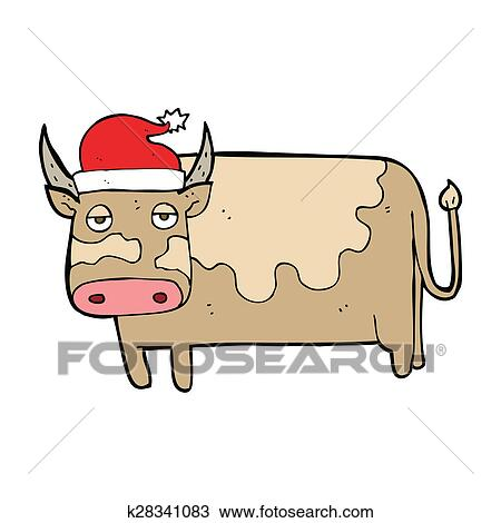 Christmas Hat Drawing.Cartoon Cow With Christmas Hat Drawing