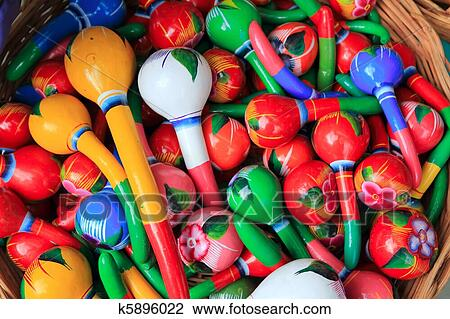 stock photo of colorful maracas from mexico handcraft painted