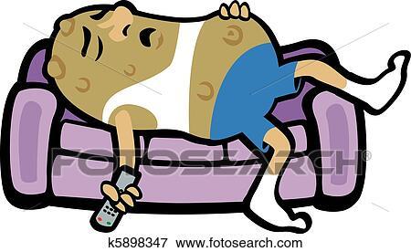 clip art of couch potato k5898347 search clipart illustration rh fotosearch com Couch Potato and Computer Oversized Couch Potato