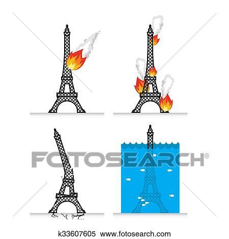 Clipart Of Destruction Of Eiffel Tower In Paris Meteorite Flies