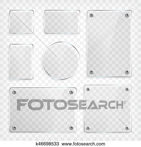 Durchsichtig, Glas, Platten, Set., Quadratische Form, Rechteck, Und,  Runder, Circle., Durchschauen, Verhöhnen, Herauf, Mit, Mounts., Plastik,  Banner, Mit, ...