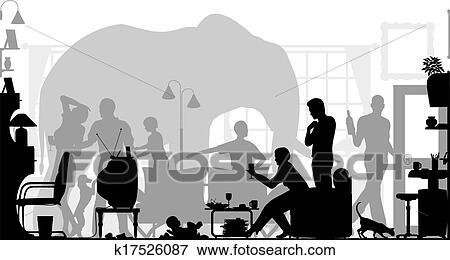 Elephant in the room Clip Art | k17526087 | Fotosearch