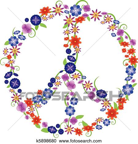 Clipart Of Flower Peace Sign K5898680 Search Clip Art