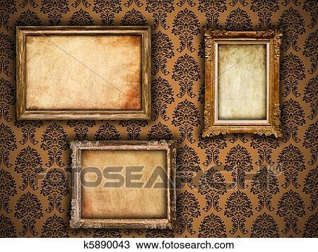 Gilded Frames On Vintage Damask Style Wallpaper Background