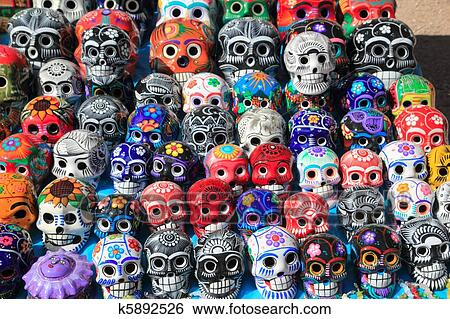 stock images of mexican skulls colorful ceramic day of the dead