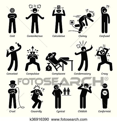 clipart of negative character traits k36916390 search clip art