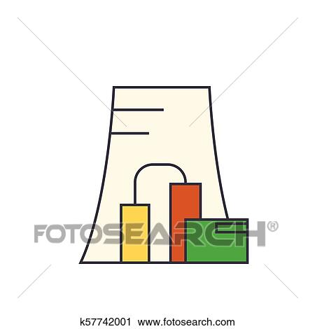 thermal power plant line icon concept thermal power plant flat Thermal Power Production clipart thermal power plant line icon concept thermal power plant flat vector sign,