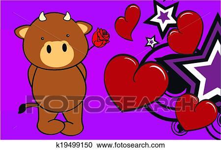 Toro bambino cartone animato carino rosa clipart k