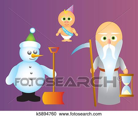 a snowman holding a snow shovel father time and baby new year