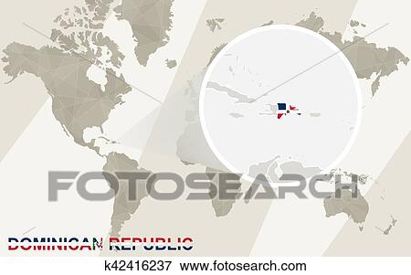 Where Is The Dominican Republic On A World Map.Zoom On Dominican Republic Map And Flag World Map Clip Art K42416237