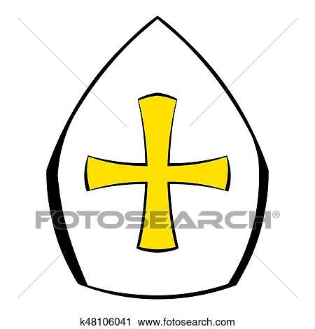 ローマ教皇のティアラ 帽子 で 交差点 アイコン 漫画 クリップ