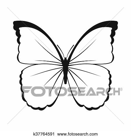 Clipart Of Butterfly Icon Simple Style K37764591 Search Clip Art