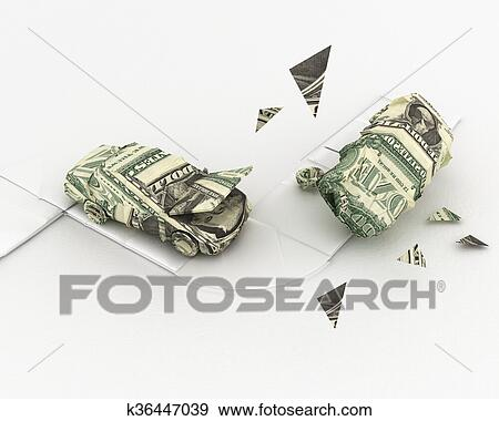 Stock Illustration Of Car Accident Dollar Origami K36447039 Search