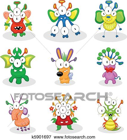 Cartoon monsters, goblins, ghosts Clip Art | k5901697 ...