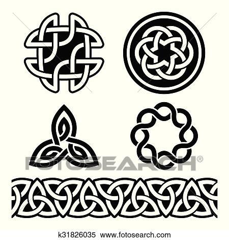 Dessin Celtique clipart - celtique, irlandais, motifs, et, nœuds k31826035
