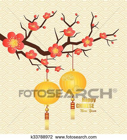 Clipart Of Chinese New Year Greeting Card Vector Illustration