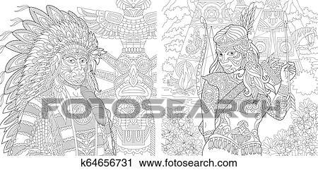 Kleurplaat Indianen Dromenvanger | Kleurplaten, Mandala ... | 241x450
