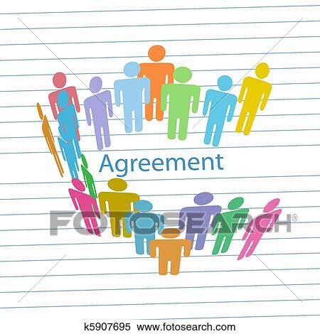 Clipart Of Company People Meet Consensus Agreement Contract K5907695