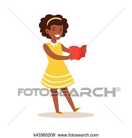 Girl Dans Robe Jaune Qui Amours Lire Illustration A Gosse Apprecier Lecture Livre Ouvert Clipart