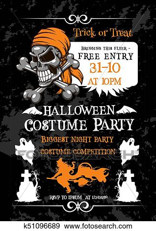 Clip Art Of Halloween Holiday Party Poster With Pirate Skull