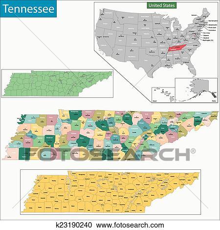 Mapa de tennessee Clipart | k23190240 | Fotosearch