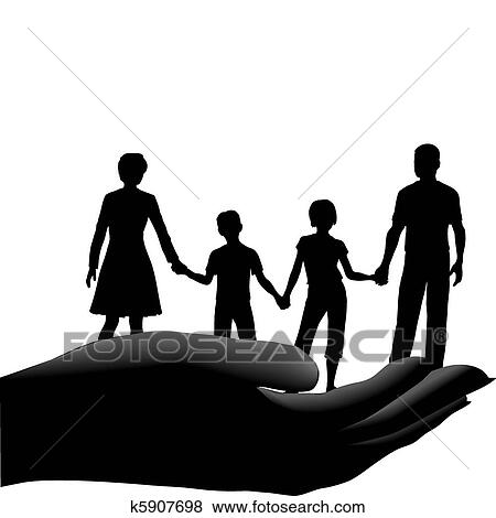 clip art of mother father kids family safe secure in hand k5907698