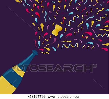 happy new year illustration of champagne bottle with colorful confetti explosion ideal for holiday greeting card or party invitation eps10 vector